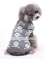 Hunde Pullover Rot / Schwarz / Grau Hundekleidung Winter Totenkopf Motiv Niedlich / warm halten