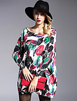Tricot Robe Femme Grandes Tailles / Sortie simple,Imprimé Col Arrondi Au dessus du genou Manches Longues Multi-couleur Nylon Automne