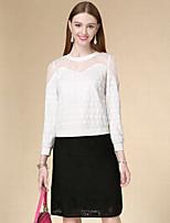 Tee-shirt Femme,Couleur Pleine Décontracté / Quotidien simple Automne Manches Longues Col Arrondi Blanc Coton Fin