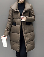 Women's Regular Padded CoatStreet chic  Polypropylene Long Sleeve Turtleneck Black / Brown / Gray / Green