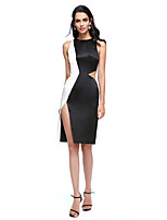 2017 TS Couture® Cocktail Party Dress - Color Block Sheath / Column Jewel Knee-length Satin with Split Front