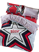BeddingOutlet Star Bedding Set Red and Blue Bed Sheet Soft Cotton Satin Fashion Duvet Cover Queen 4pcs Bed in a Bag
