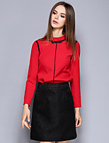 Women's Casual/Daily Simple Spring / Fall Shirt Skirt Suits,Solid Crew Neck Long Sleeve Red Others Medium