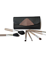 7 Makeup Brushes Set Goat Hair Professional / Portable Wood Face / Eye / Lip Coffee