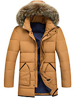 Men's Long Padded Coat,Simple Casual/Daily Solid-Polyester White Goose Down Long Sleeve Hooded Yellow