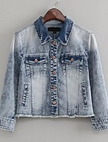 Women's Casual/Daily Simple Denim Jackets,Animal Print Long Sleeve Winter Blue Cotton
