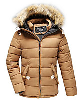 Men's Regular Down Coat,Simple Casual/Daily Solid-Polyester Polypropylene Long Sleeve Hooded Beige / Black