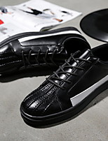 Men's Sneakers Fall Mary Jane PU Athletic Flat Heel Lace-up Black Red White Other