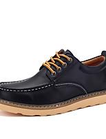 Черный / Коричневый / Бордовый-Мужской-На каждый день-Полиуретан-На плоской подошве-Туфли Мери-Джейн-Туфли на шнуровке