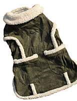 Fleece Warm Green Coat Autumn Winter Dog Clothes for Pets