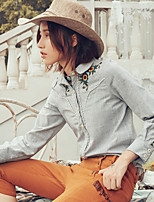 Aporia.As Women's Casual/Daily Street chic Fall BlouseEmbroidered Shirt Collar Long Sleeve Gray Cotton / Linen-MZ08051