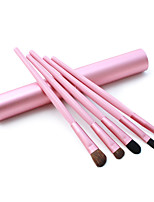 5 Makeup Brushes Set Horse Hair Professional / Portable Wood Handle Face/Eye / Lip Pink