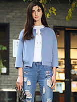 I'HAPPY Women's Going out Simple JacketsSolid V Neck Long Sleeve Spring / Fall Blue / Gray Rayon
