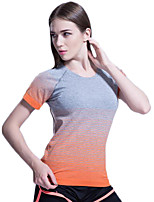 Women's Slim Comfortable Short Sleeve Stripe T-shirt Quick Dry Fitness Sports Tops