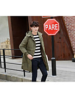 Men's Long Padded Coat,Simple Going out / Casual/Daily Solid-Polyester Polyester Long Sleeve Black / Gray / Green