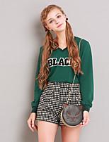 Tee-shirt Femme,Imprimé Sortie Mignon Hiver Manches Longues Col en V Blanc / Vert Polyester Moyen