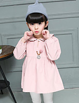 Girl's Casual/Daily Solid DressCotton Spring / Fall Green / Pink