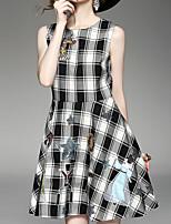 Kenaya Women's Casual/Daily Boho Sheath DressPlaid Round Neck Above Knee Sleeveless Gray Cotton Summer
