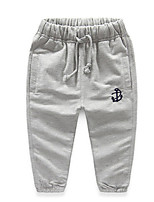 Boy's Cotton Fashion Simple Style Spring/Fall Casual/Daily Solid Color Anchor Print Casual Sports Long Pants