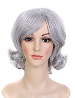 Fashion Grey Color Curly Synthetic Wigs For Afro Women