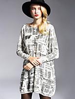 Tricot Robe Femme Décontracté / Quotidien / Grandes Tailles simple,Imprimé Col Arrondi Au dessus du genou Manches Longues Blanc / Gris