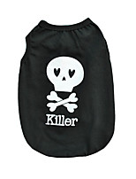 Cool Black Cotton Halloween Skull Killer Vest Shirt Summer Dog Clothes for Pets