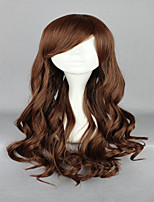 70cm Light Brown Cosplay Wig  Lolita Zipper Classical Wavy Long Curly  Costume Party Wig
