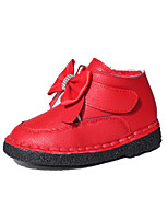 Girl's Boots Winter Comfort Snow Boots PU Dress Casual Flat Heel Magic Tape Black Red Walking