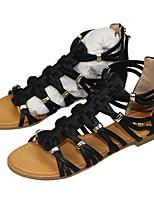 Women's Flats Summer Comfort PU Office & Career Casual Flat Heel Zipper Black Other