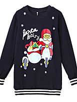 Women's Casual/Daily / Sports Street chic / Active Long Hoodies,Print Black Round Neck Long Sleeve Cotton / Polyester Fall / Winter Medium