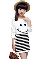 Girl's Casual/Daily Striped Dress,Cotton Spring / Fall White / Gray