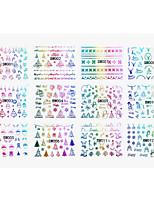 12 designs ,12 different images Nail Art Sticker Decalques de transferência de água maquiagem Cosméticos Prego Design Arte