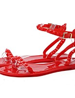 Women's Sandals Summer Comfort PVC Outdoor Flat Heel Others Black Red White Walking