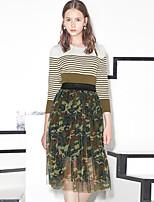 I'HAPPY Women's Camouflage Green SkirtsStreet chic Knee-length