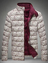 Men's Regular Padded Coat,Simple Casual/Daily Floral-Polyester Cotton Long Sleeve Red