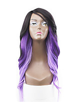 New Style Purple Pink Two Tones Ombre Hair Lace Front Natural Wavy Synthetic Lace Wigs