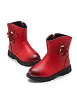 לבנות-מגפיים-PU-נוחות מגפי אופנה-שחור ורוד אדום-שמלה יומיומי-עקב שטוח