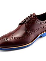 Коричневый / Телесный-Мужской-Свадьба / Для офиса-КожаУдобная обувь-Туфли на шнуровке