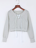 Women's Solid Gray Round Neck Long Sleeve Cotton Fall Medium Micro-elastic