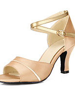 Customizable Women's Dance Shoes Satin Satin Latin Sandals Chunky Heel Practice Gold