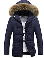 Men's Down Coat,Simple Plus Size / Casual/Daily Solid-Cotton Polyester Long Sleeve Blue / Black / Green