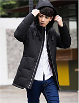Men's Down Coat,Simple Casual/Daily Solid-Polyester White Duck Down Long Sleeve Hooded Black