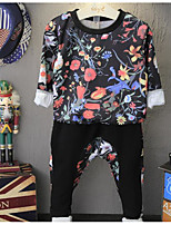 Boy's Casual/Daily Floral Hoodie & Sweatshirt / Clothing SetCotton Spring / Fall Black