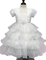 Girl's  Fashion In Europe And  Bud Silk Condole Belt White Gauze Dress Bow Princess Wedding Dresses With Short Sleeves