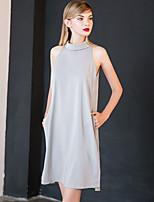 Chemisier Femme,Couleur Pleine Sortie simple Printemps / Eté Sans Manches Mao Gris Polyester Opaque