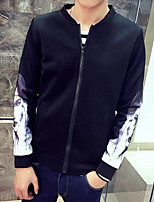 Men's Casual/Daily Simple Jackets,Print Stand Long Sleeve Fall Black Polyester Thin