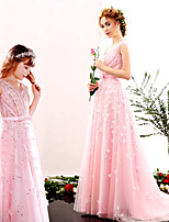 Formal Evening Dress A-line V-neck Floor-length Tulle / Charmeuse with Beading / Flower(s) / Sash / Ribbon / Sequins