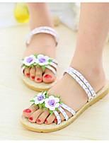 Желтый / Фиолетовый / Белый-Женский-На каждый день-Полиуретан-На плоской подошве-Удобная обувь-Сандалии