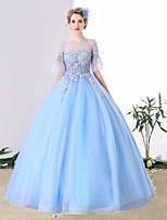 Formal Evening Dress Ball Gown Jewel Chapel Train Tulle with Crystal Detailing / Lace