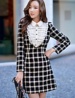 Women's Daily / Work / Party/Cocktail Vintage / Street chic / Sophisticated A Sheath Dress Check Shirt Collar Above Knee